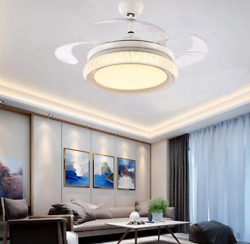 42quot;Crystal Ceiling Fan Lamp Remote Retractable Blades LED Chandeliers Home Light