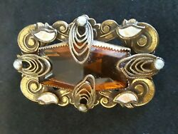 Old VTG ANTIQUE Victorian Amber Brown Colored Cut Glass amp; Enamel Pin Brooch $40.00