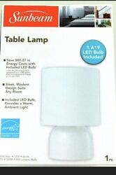 New Sunbeam Modern Table LAMP with White Fabric Shade and Metal Base $20.00