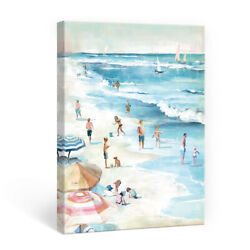 Blue Beach Canvas Wall Art Framed for Modern Bedroom Bathroom Home Decor 12x16 $23.99