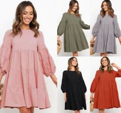 Women Lightweight Loose Lantern Long Sleeve Crew Neck Solid for Holiday Dresses $13.73