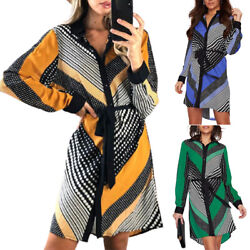 Womens Printed Long Sleeve Shirt Dress Belted Knee Length Holiday Party Dresses $22.32