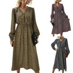 Womens Floral Print Long Sleeve V Neck Midi Dress Casual Evening Party Dresses $26.02