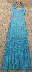 Bebe Lace Maxi Dress XS TEal amp; Beige Sleeveless amp; Sexy $29.00