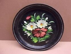 Antique Tole Painted 7quot; Metal Plate Hand Painted Flowers Signed VERY COOL LQQK $19.99