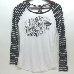NEW Harley Womens Incremental Delusions Long Sleeve Raglan Tee S M L 1X $17.15