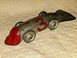 Vintage Tin Whale Tail Toy Race Car with Weighted Wheels 9quot; $100.00