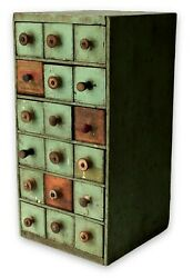 Antique Wooden Cabinet Primitive Wood Cheesebox Drawers Orig Green Paint Spools $425.00