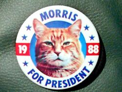 Morris the Cat for President 1988 Pin Back Button Nice 2.25quot; Toy Campaign Lot $10.00