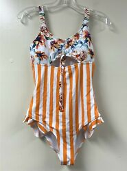CUPSHE Women#x27;s Orange Floral Stripe Ruched Bust One Piece Swimsuit $12.60