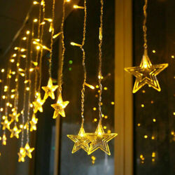 120 LED Curtain Star Hanging String Lights LED Home Wedding Party 2 M Xmas Decor