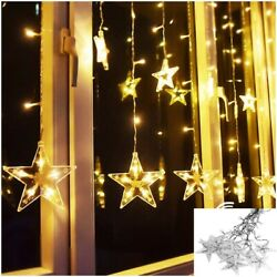 120 LED Xmas Curtain Star Hanging String Lights LED Home Wedding Party 2M US