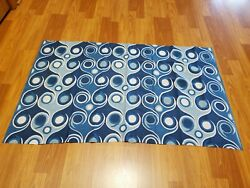 Awesome RARE Vintage Mid Century retro 70s blues white flame drop fabric LOOK $15.00