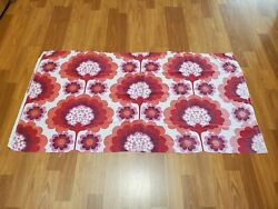 Awesome RARE Vintage Mid Century retro 70s red pur floral lollipop fabric WOW $20.00