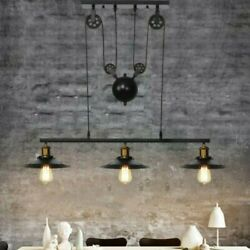 Farmhouse Pulley 3 Light Industrial Chandelier Kitchen Dining Room Lighting Iron $66.23