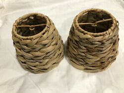 Mini Chandelier Lamp Shades Straw Wicker Set of 2 Matching 4 3 8quot; $13.00