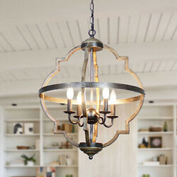 Antique Distressed Wood 4 Light Candle Style Hall Foyer Chandelier $168.15