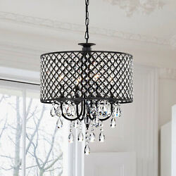 Pluto Crystal 4 light Dimmable Drum Chandelier $124.04