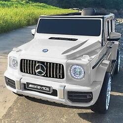 12V Kids Electric Ride on Car Toys Licensed Mercedes Benz G63 w RC Music White $201.99