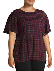 *NEW TERRA amp; SKY PLUS SIZE DOUBLECLOTH FLUTTER SLEEVE PLAID PRINT BABYDOLL TOP $14.44
