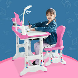 Height Adjustable Kids Desk and Chair Set Student Children Study Table W Lamp $105.88