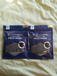New Tommie Copper Face Mask Unisex 4 Pk Copper amp; Zinc Infused. 2 packages.BLACK $22.90