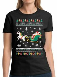 Santa With Unicorn Shirt Funny Christmas Gift Santa Xmas Holiday Women#x27;s T Shirt $11.06