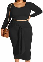 Plus Size Skirt Sets Stretchy Sexy Two Piece Outfits for Women Bodycon Crop To $71.17