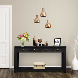 Entryway Console Table Narrow Accent Table w Storage Shelf and 4 Drawers Black $245.99