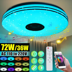Music Led Ceiling Lamp 72W RGB bluetooth Speaker Dimmable Changing APP Control $42.88