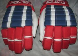 Vintage CCM Hockey Gloves Pro Gard Thumb HG 3000 Red Blue and White 14quot; Mens C $69.99