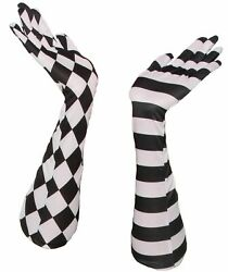 HARLEQUIN CLOWN OPERA GLOVES Long Black amp; White Stripes Diamonds Court Jester $9.89