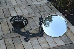 OLD ORNATE Bamp;H ANTIQUE CAST IRON WALL OIL LAMP BRACKET with REFLECTOR $95.00