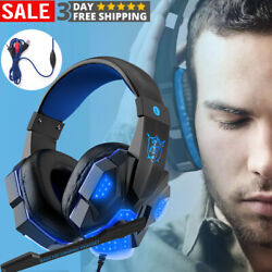 3.5mm Gaming Headset Gaming Wire controll Headphones LED with Mic Gamer Skype PC $23.99