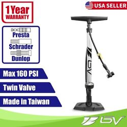 BV Bike Pump Floor With Gauge Tire Air Inflator Presta Dunlop Schrader 160PSI $26.99