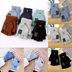 Mens Winter Warm Combo 2 in 1 Gloves Half Capped Mittens Womens Fingerless $5.98