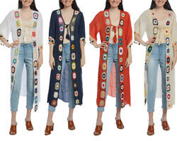 Women Soft Viscose Spring Solid Crochet Maxi One Size Open Loose Women Cover up $30.49