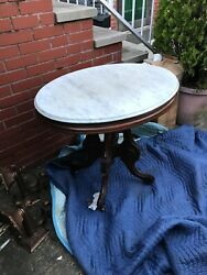 Antique American Walnut White marble top Victorian table oval shape $340.00