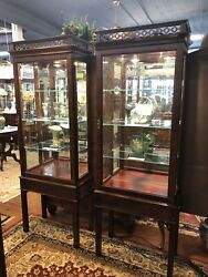 Vintage Century Furniture Hickory NC Pr Asian Influenced Lighted Curio Cabinets $2295.00