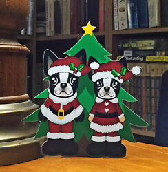 Boston Terrier Mr and Mrs Santa Christmas Tree 6quot; Decor $5.96