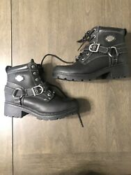 Women#x27;s Harley Davidson Black Leather Tegan Boots Size 7 $60.00