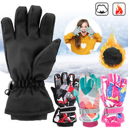 Winter Ski Gloves Kids Boys Girls Snow Mittens Waterproof Warm Outdoor Sports US $13.99