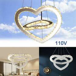 Modern Ceiling Lamp LED Chandeliers 2 Romantic Heart shaped Crystal Pendant Lamp $82.06