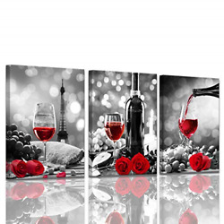 Wine Decor Kitchen Canvas Art Red Wine Rose Artwork for Home Walls Black and Red $46.76