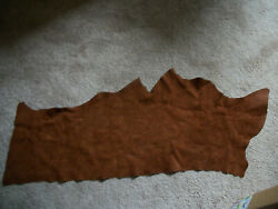 Small Piece Of Genuine Cowhide Brown Leather Approx. 40quot; x 17quot; Irregular Cut $9.99
