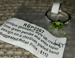 Ring Bomb Party Size 8 Lime Green Peridot White Topaz SRP $112 NEW w tag amp; bag $10.00