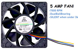 Antminer Bitmain 7500RPM Dual Ball Bearing 4 pin Connector Replacement FAN 5.0A $9.99