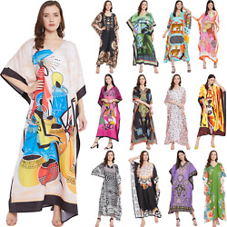 Women Casual Maxi Long Kaftan Kimono Sleeve Plus Size Dresses V Neck Nightgown $13.99