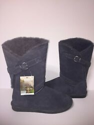 Bearpaw Tatum Charcoal Gray Womens suede Pull on boots shoes 1255W Size 8 NWT $39.00