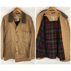 LL Bean Plaid Lined Field Hunting Coat Canvas Jacket Mens Size XL $59.95
